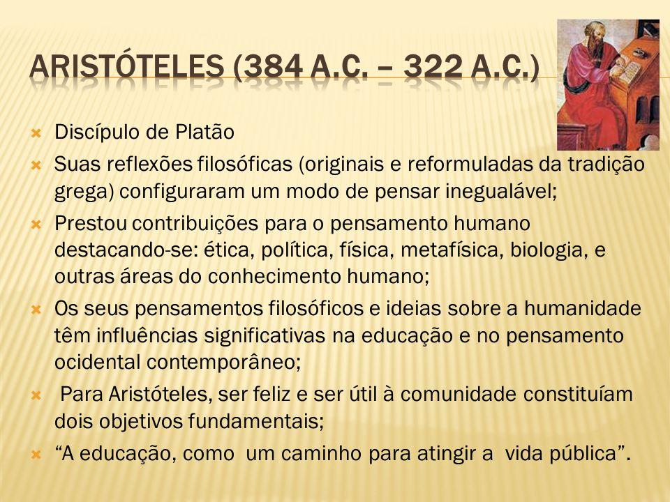 Aristóteles (384 a.C. – 322 a.C.) Discípulo de Platão