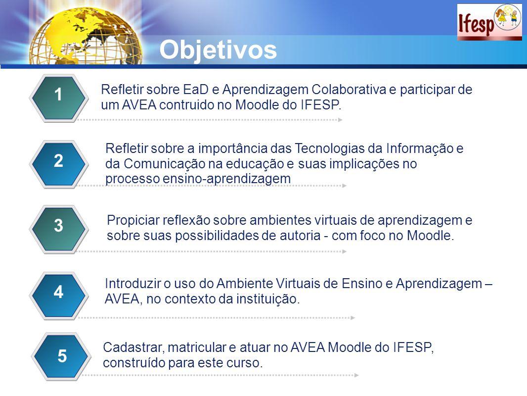 Objetivos 1. Refletir sobre EaD e Aprendizagem Colaborativa e participar de um AVEA contruido no Moodle do IFESP.