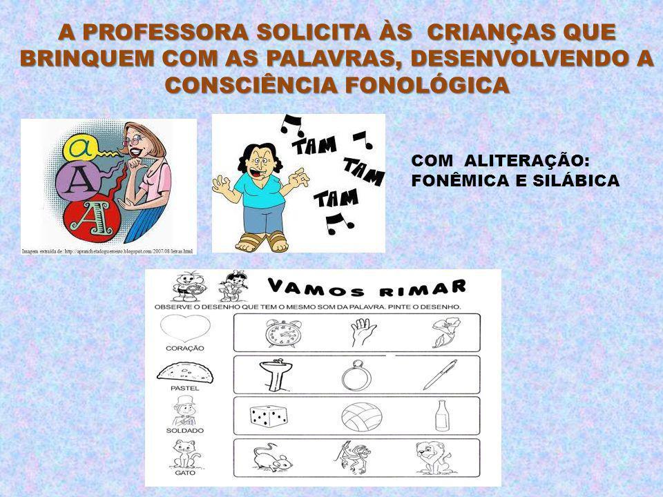 A PROFESSORA SOLICITA ÀS CRIANÇAS QUE BRINQUEM COM AS PALAVRAS, DESENVOLVENDO A CONSCIÊNCIA FONOLÓGICA