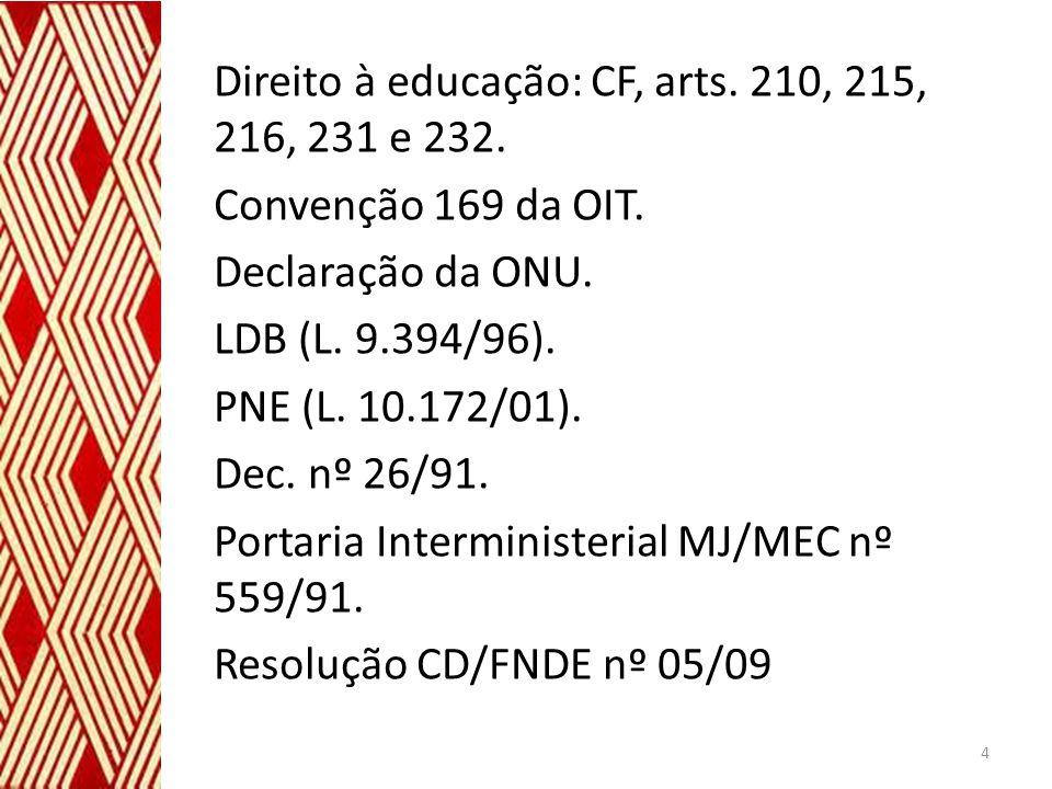 Direito à educação: CF, arts. 210, 215, 216, 231 e 232