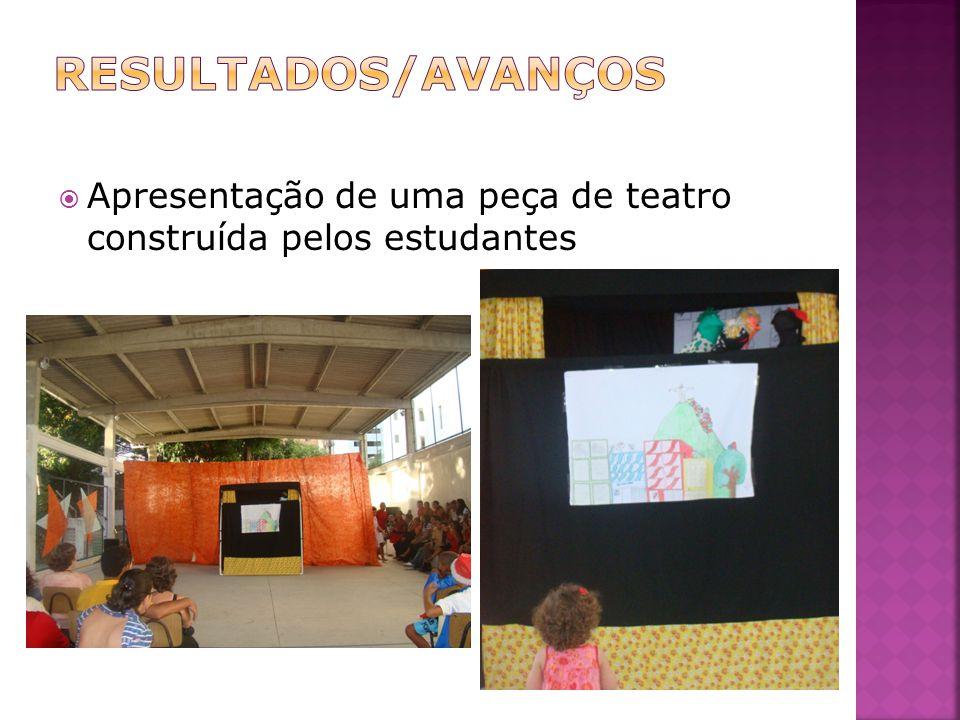 RESULTADOS/AVANÇOS Apresentação de uma peça de teatro construída pelos estudantes