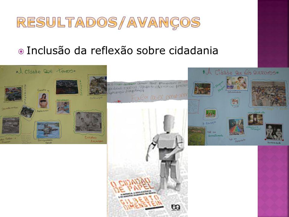 RESULTADOS/AVANÇOS Inclusão da reflexão sobre cidadania
