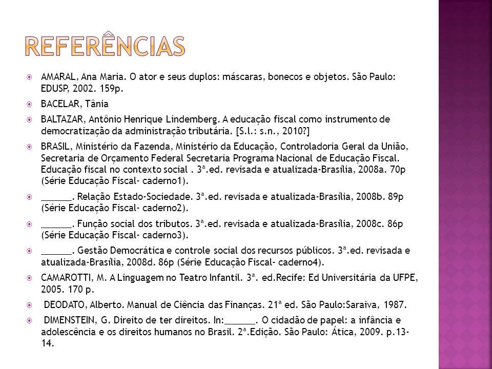 REFERÊNCIAS AMARAL, Ana Maria. O ator e seus duplos: máscaras, bonecos e objetos. São Paulo: EDUSP, 2002. 159p.