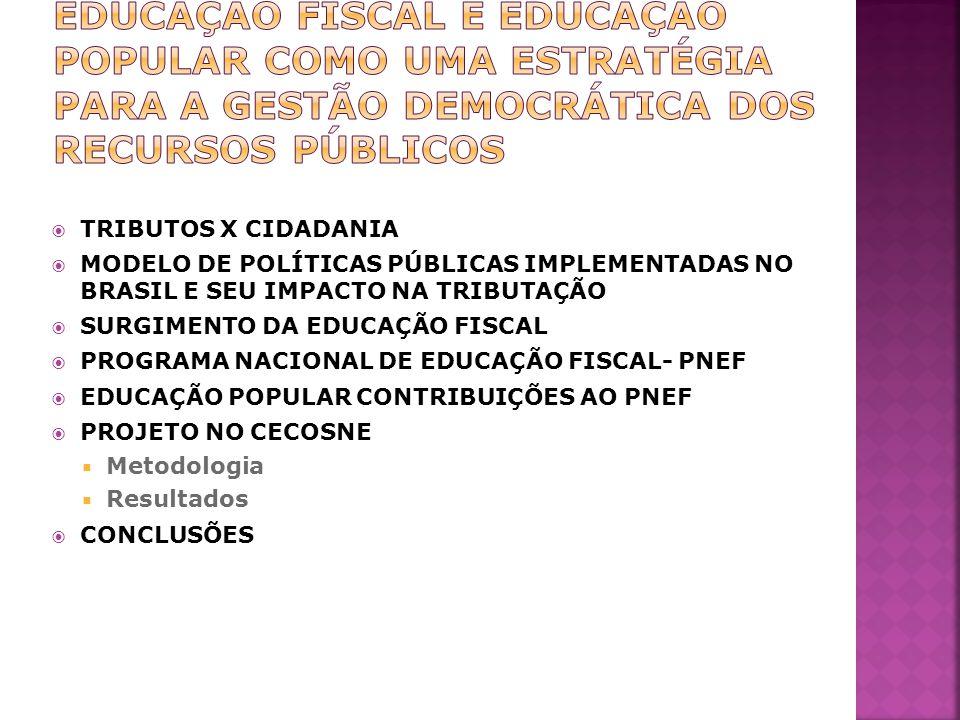 EDUCAÇÃO FISCAL E EDUCAÇÃO POPULAR COMO UMA ESTRATÉGIA PARA A GESTÃO DEMOCRÁTICA DOS RECURSOS PÚBLICOS
