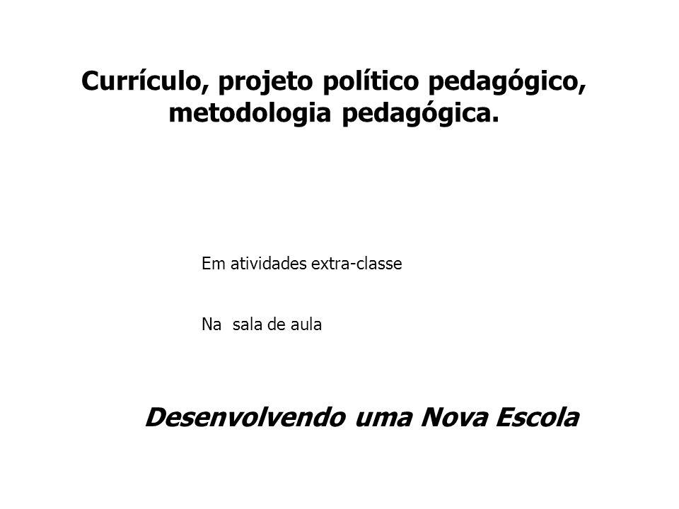 Currículo, projeto político pedagógico, metodologia pedagógica.