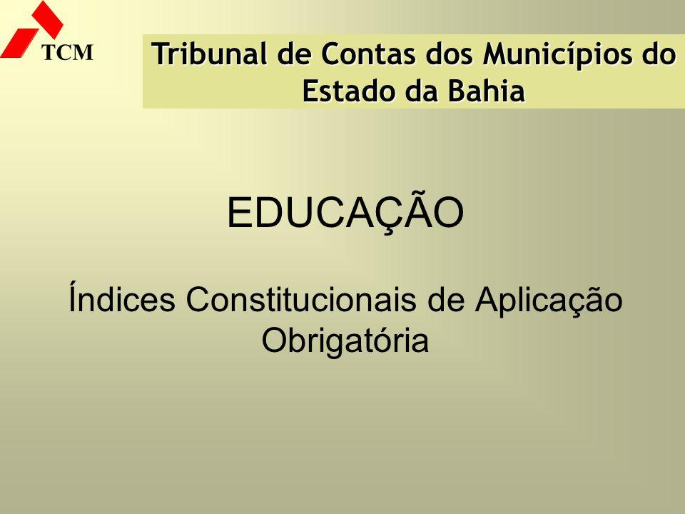 EDUCAÇÃO Índices Constitucionais de Aplicação Obrigatória