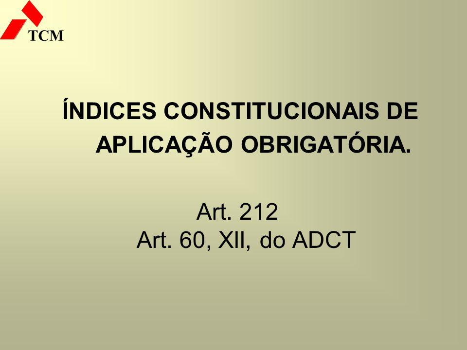 ÍNDICES CONSTITUCIONAIS DE APLICAÇÃO OBRIGATÓRIA.