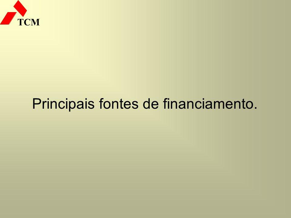 Principais fontes de financiamento.