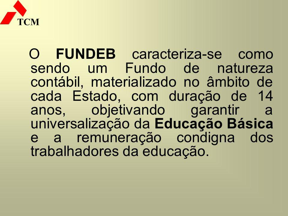 O FUNDEB caracteriza-se como sendo um Fundo de natureza contábil, materializado no âmbito de cada Estado, com duração de 14 anos, objetivando garantir a universalização da Educação Básica e a remuneração condigna dos trabalhadores da educação.