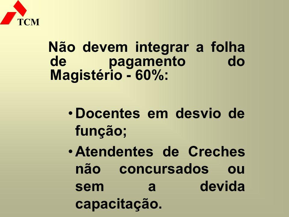 Não devem integrar a folha de pagamento do Magistério - 60%:
