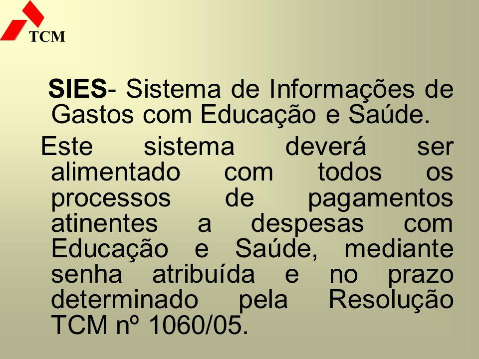 SIES- Sistema de Informações de Gastos com Educação e Saúde.