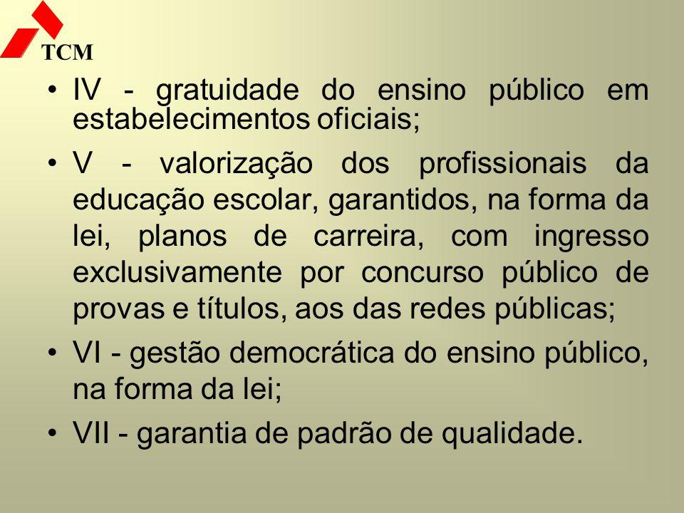 IV - gratuidade do ensino público em estabelecimentos oficiais;