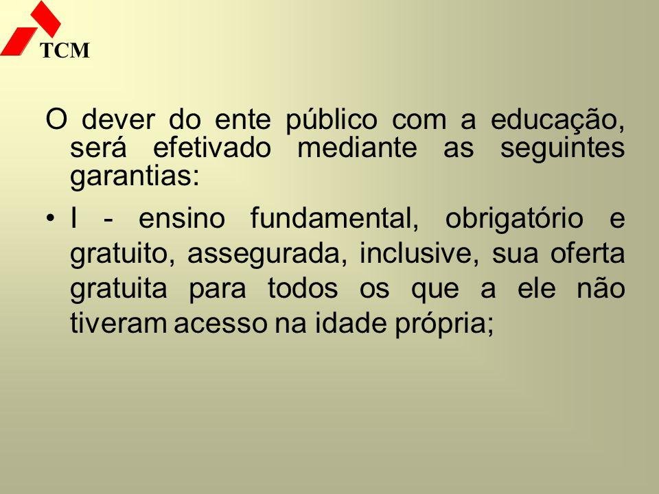 O dever do ente público com a educação, será efetivado mediante as seguintes garantias: