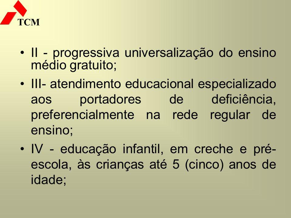 II - progressiva universalização do ensino médio gratuito;