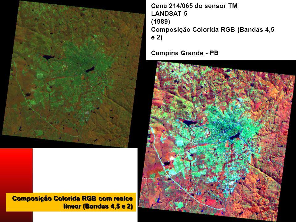 Cena 214/065 do sensor TM LANDSAT 5. (1989) Composição Colorida RGB (Bandas 4,5 e 2) Campina Grande - PB.