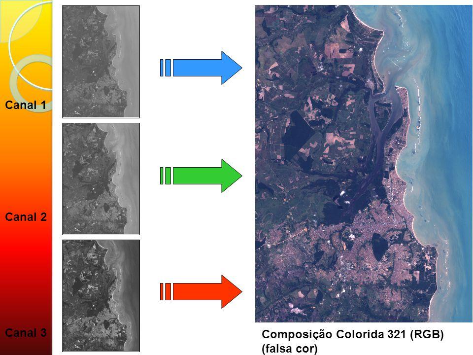 Canal 1 Canal 2 Canal 3 Composição Colorida 321 (RGB) (falsa cor)