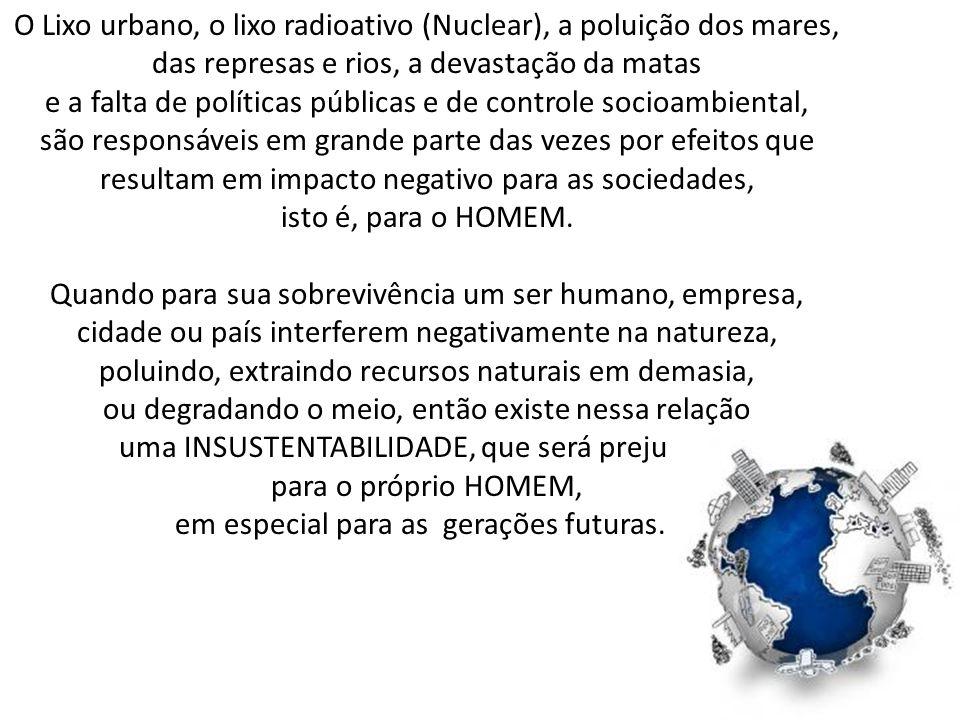 O Lixo urbano, o lixo radioativo (Nuclear), a poluição dos mares,