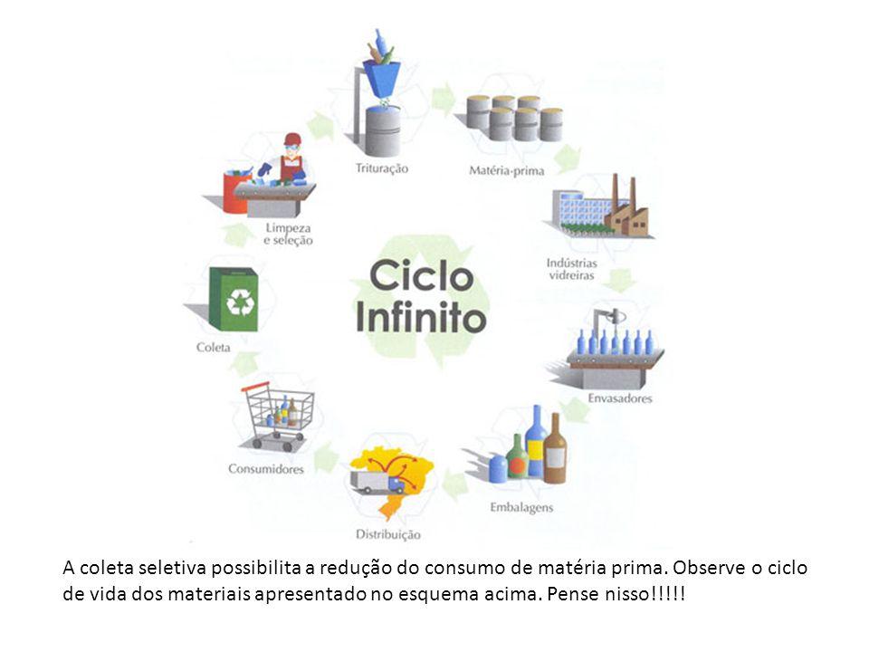 A coleta seletiva possibilita a redução do consumo de matéria prima