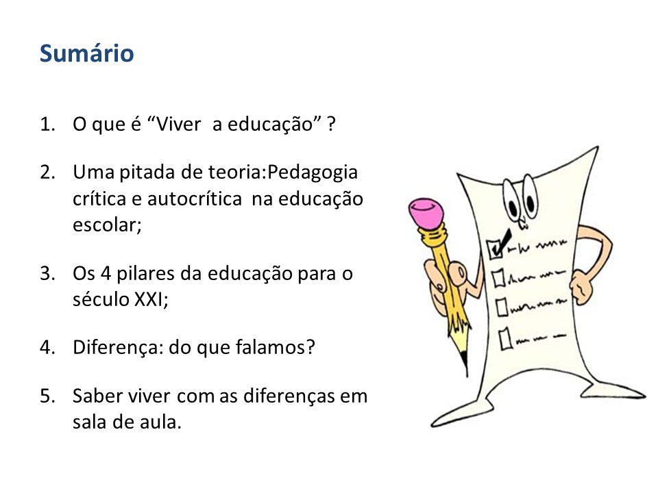 Sumário O que é Viver a educação