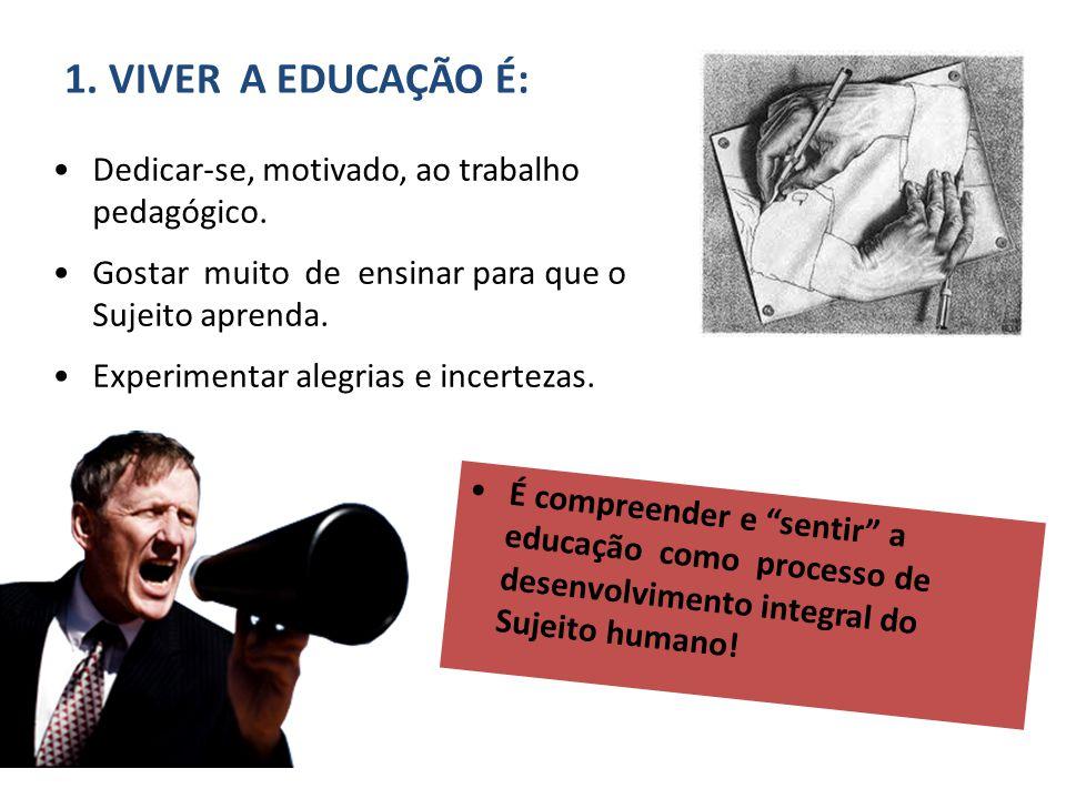 1. VIVER A EDUCAÇÃO É: Dedicar-se, motivado, ao trabalho pedagógico.