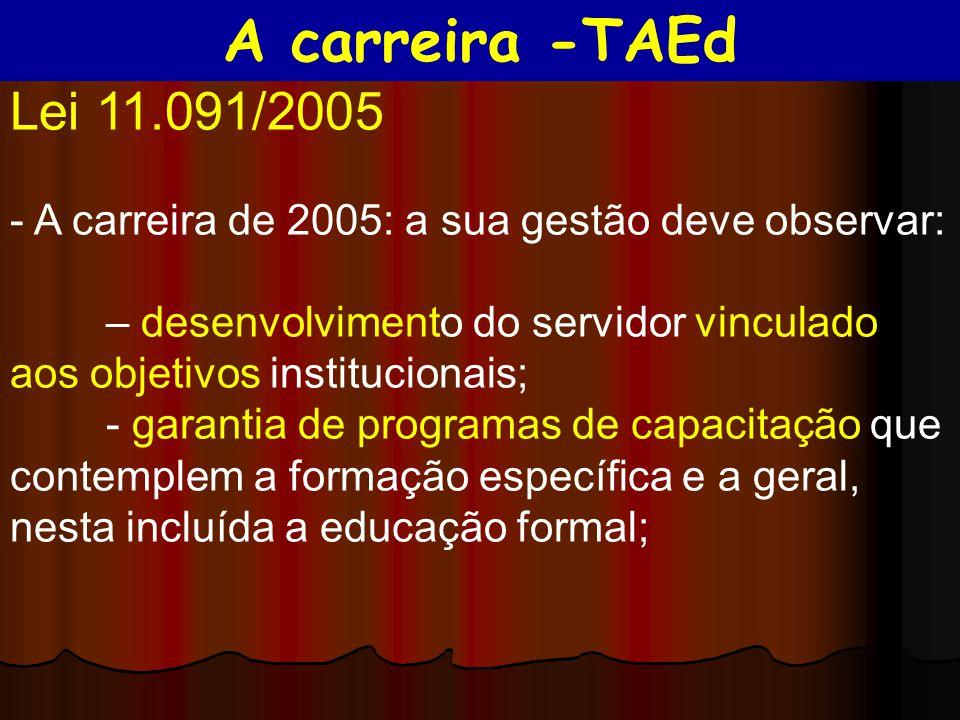 A carreira -TAEd Lei 11.091/2005. - A carreira de 2005: a sua gestão deve observar: