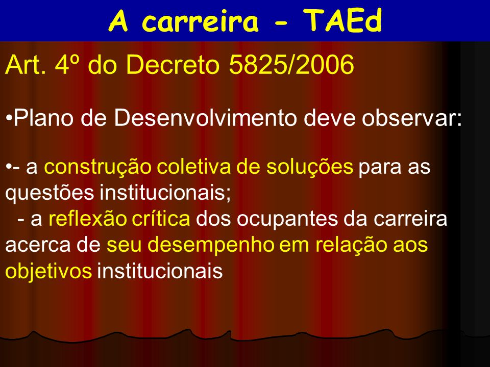 A carreira - TAEd Art. 4º do Decreto 5825/2006
