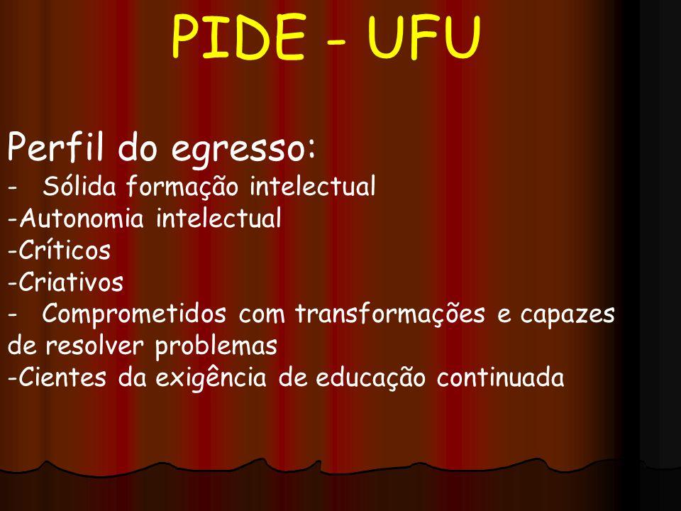 PIDE - UFU Perfil do egresso: - Sólida formação intelectual