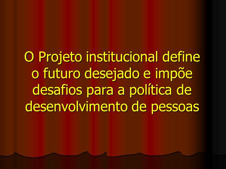 O Projeto institucional define o futuro desejado e impõe desafios para a política de desenvolvimento de pessoas