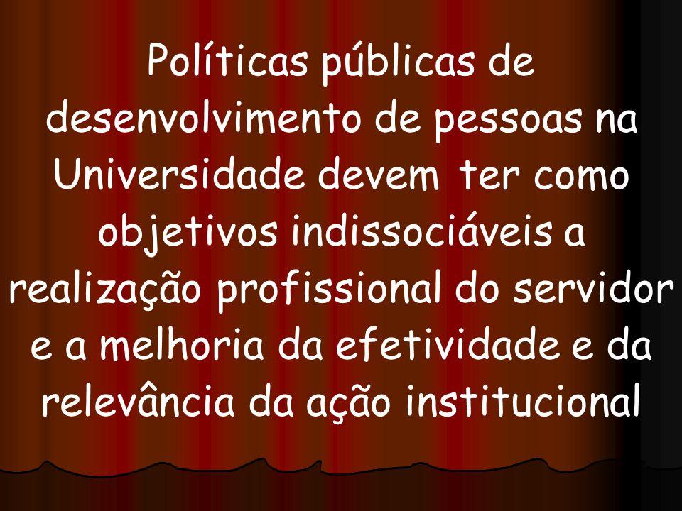 Políticas públicas de desenvolvimento de pessoas na Universidade devem ter como objetivos indissociáveis a realização profissional do servidor e a melhoria da efetividade e da relevância da ação institucional