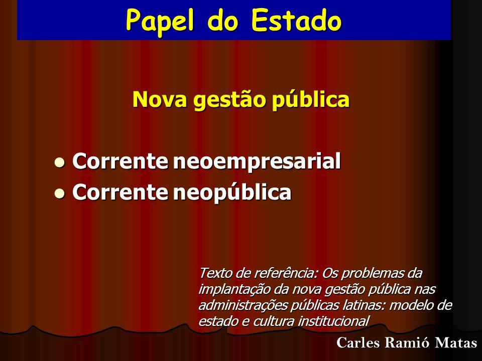 Papel do Estado Nova gestão pública Corrente neoempresarial