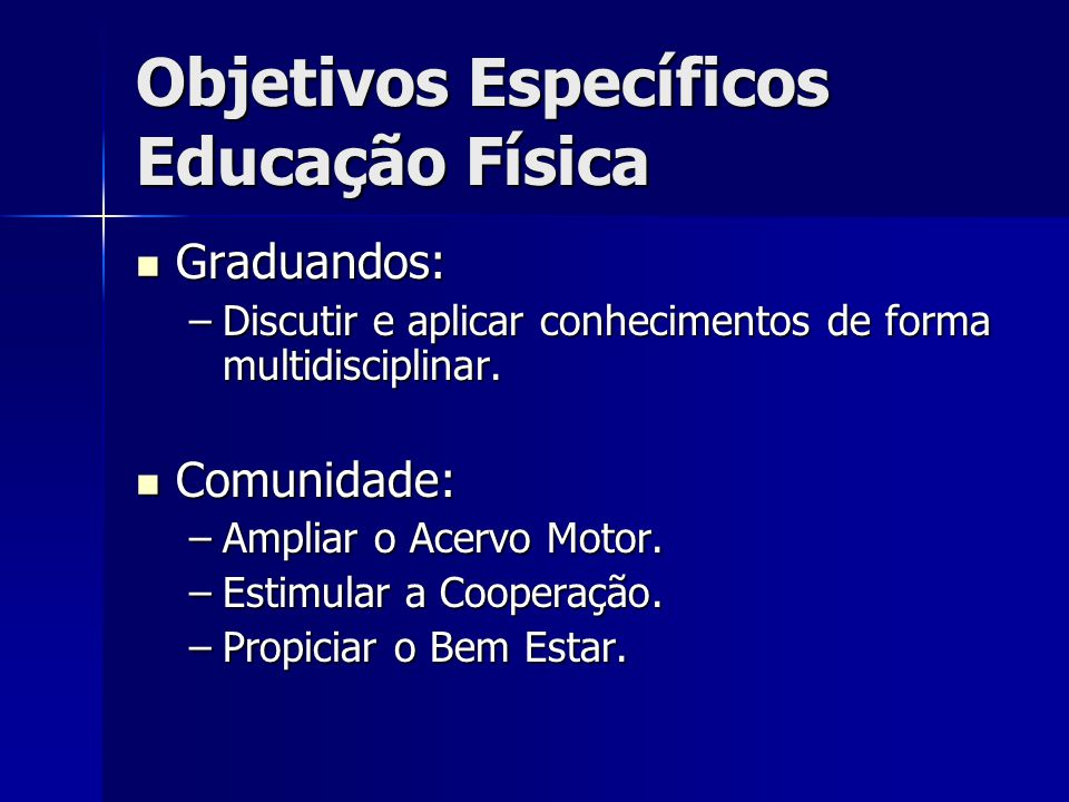 Objetivos Específicos Educação Física