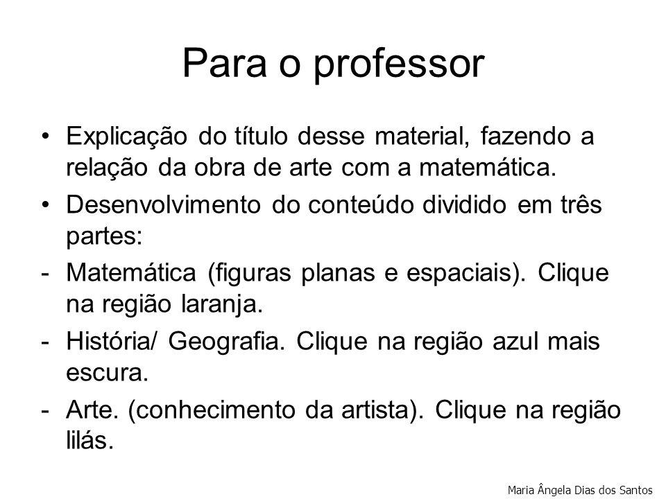 Para o professor Explicação do título desse material, fazendo a relação da obra de arte com a matemática.