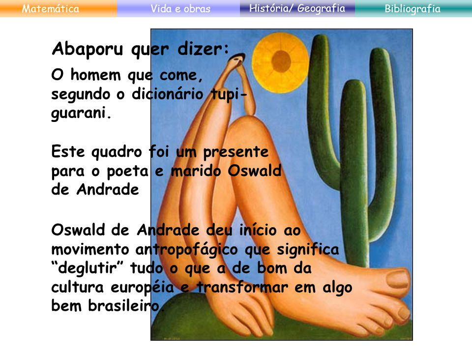 Matemática Vida e obras. História/ Geografia. Bibliografia. Abaporu quer dizer: O homem que come, segundo o dicionário tupi-guarani.