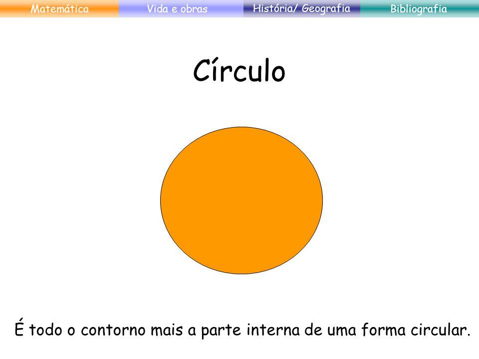 Círculo É todo o contorno mais a parte interna de uma forma circular.