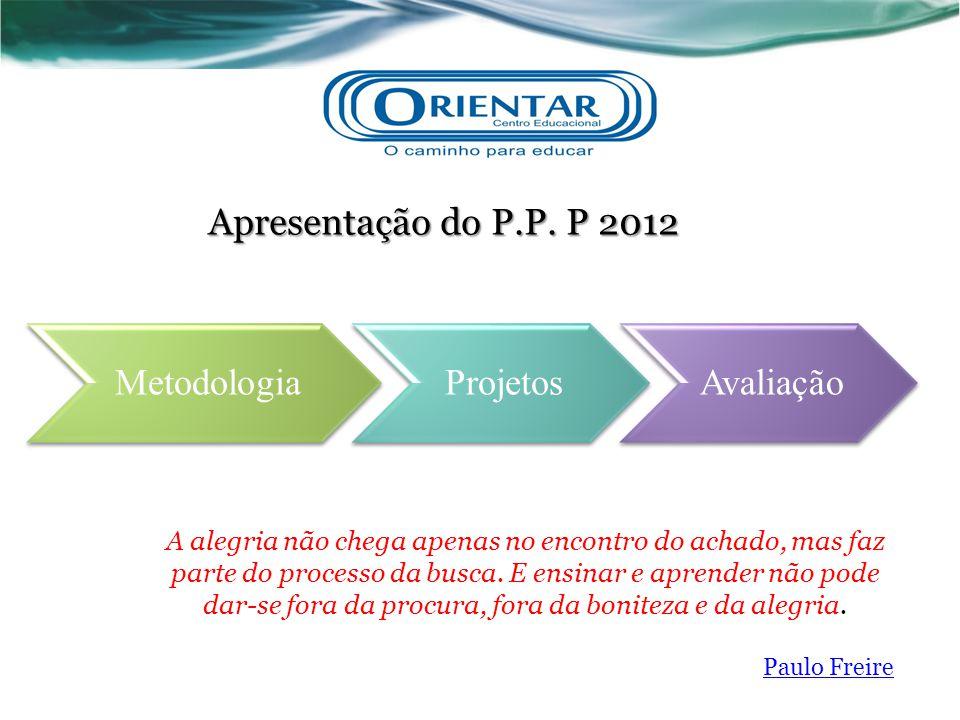 Apresentação do P.P. P 2012 Metodologia Projetos Avaliação