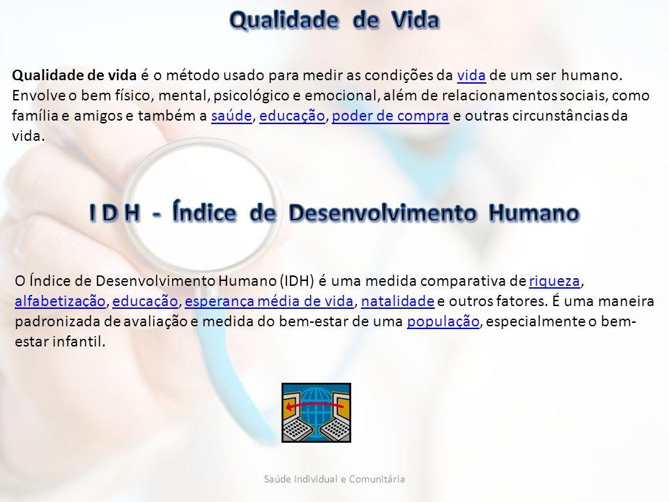 I D H - Índice de Desenvolvimento Humano