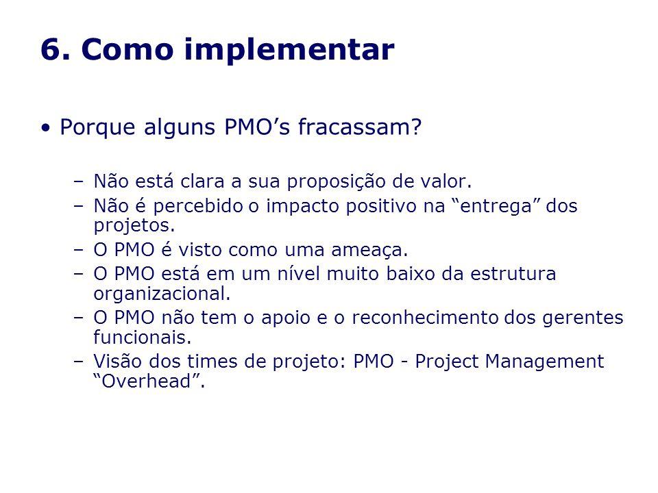 6. Como implementar Porque alguns PMO's fracassam