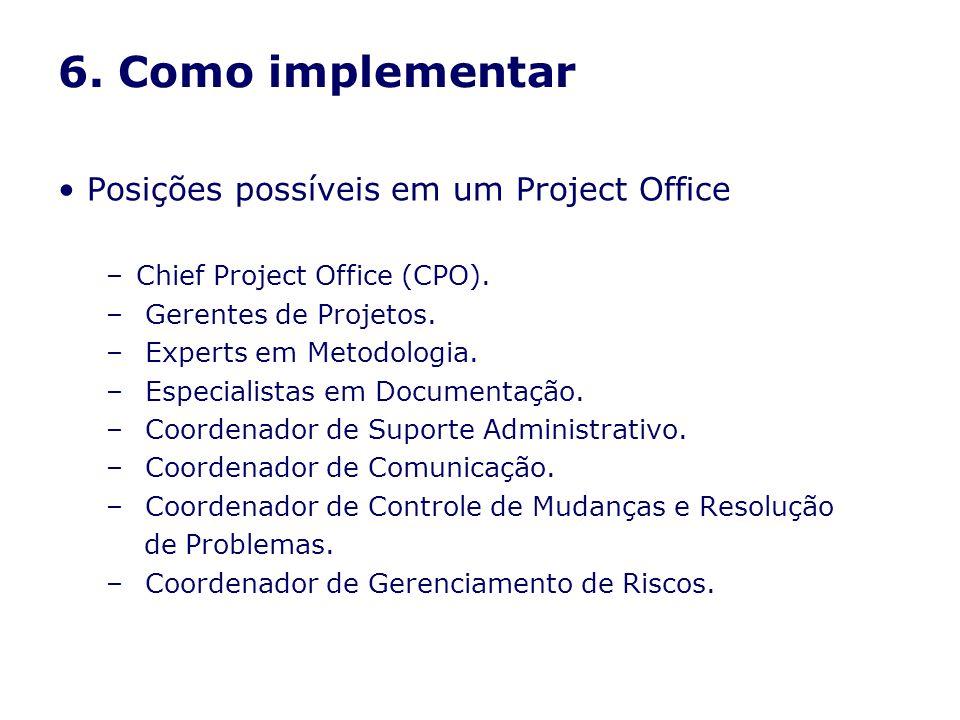 6. Como implementar Posições possíveis em um Project Office