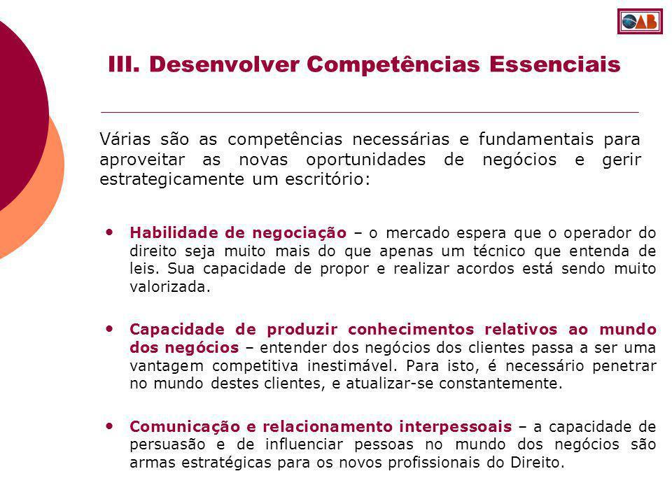 III. Desenvolver Competências Essenciais