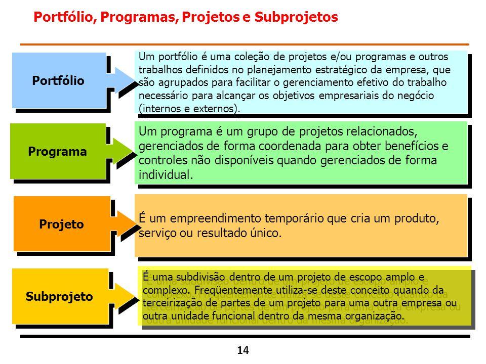 Portfólio, Programas, Projetos e Subprojetos