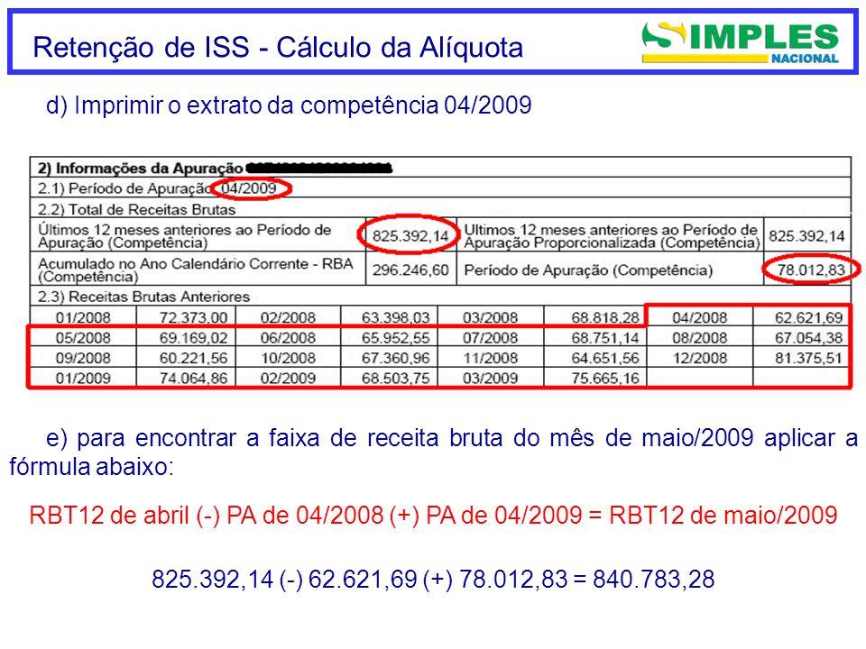 Retenção de ISS - Cálculo da Alíquota