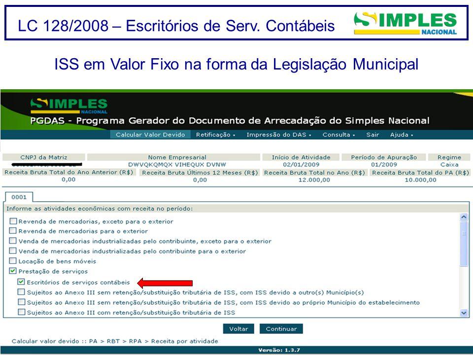 ISS em Valor Fixo na forma da Legislação Municipal