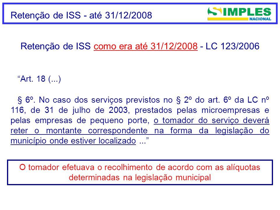 Retenção de ISS como era até 31/12/2008 - LC 123/2006
