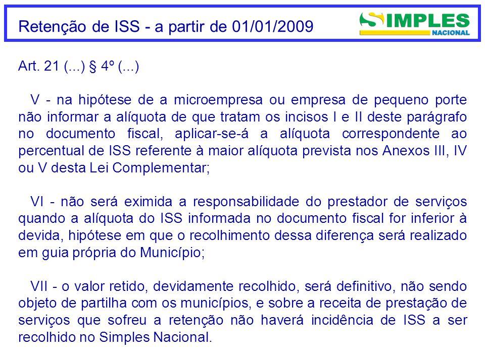 Retenção de ISS - a partir de 01/01/2009