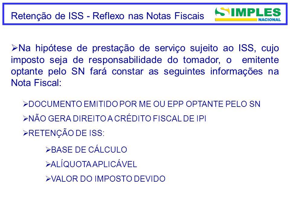 Retenção de ISS - Reflexo nas Notas Fiscais