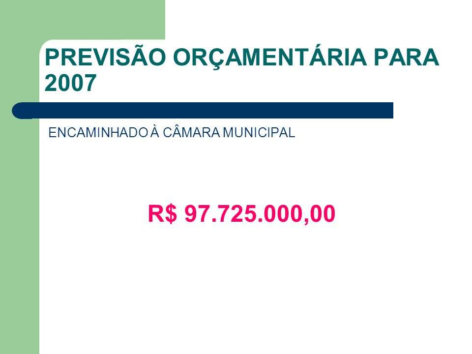 PREVISÃO ORÇAMENTÁRIA PARA 2007