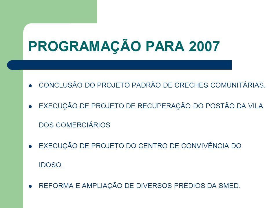 PROGRAMAÇÃO PARA 2007 CONCLUSÃO DO PROJETO PADRÃO DE CRECHES COMUNITÁRIAS. EXECUÇÃO DE PROJETO DE RECUPERAÇÃO DO POSTÃO DA VILA DOS COMERCIÁRIOS.