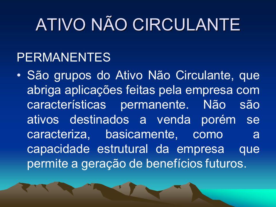 ATIVO NÃO CIRCULANTE PERMANENTES
