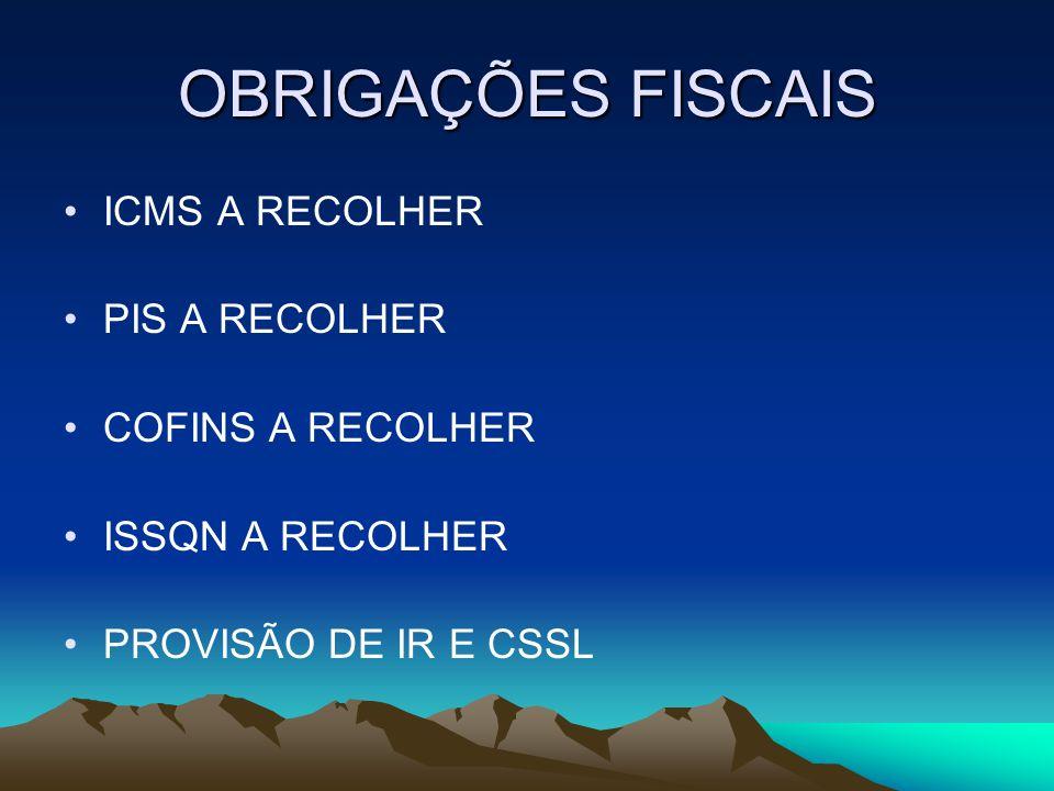 OBRIGAÇÕES FISCAIS ICMS A RECOLHER PIS A RECOLHER COFINS A RECOLHER
