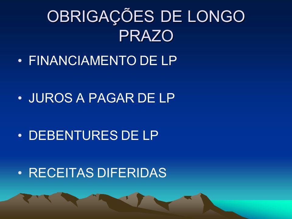OBRIGAÇÕES DE LONGO PRAZO